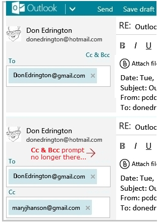 how to bcc forward email in live mail