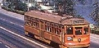 Pacific Electric Red Streetcar Passing Echo Park